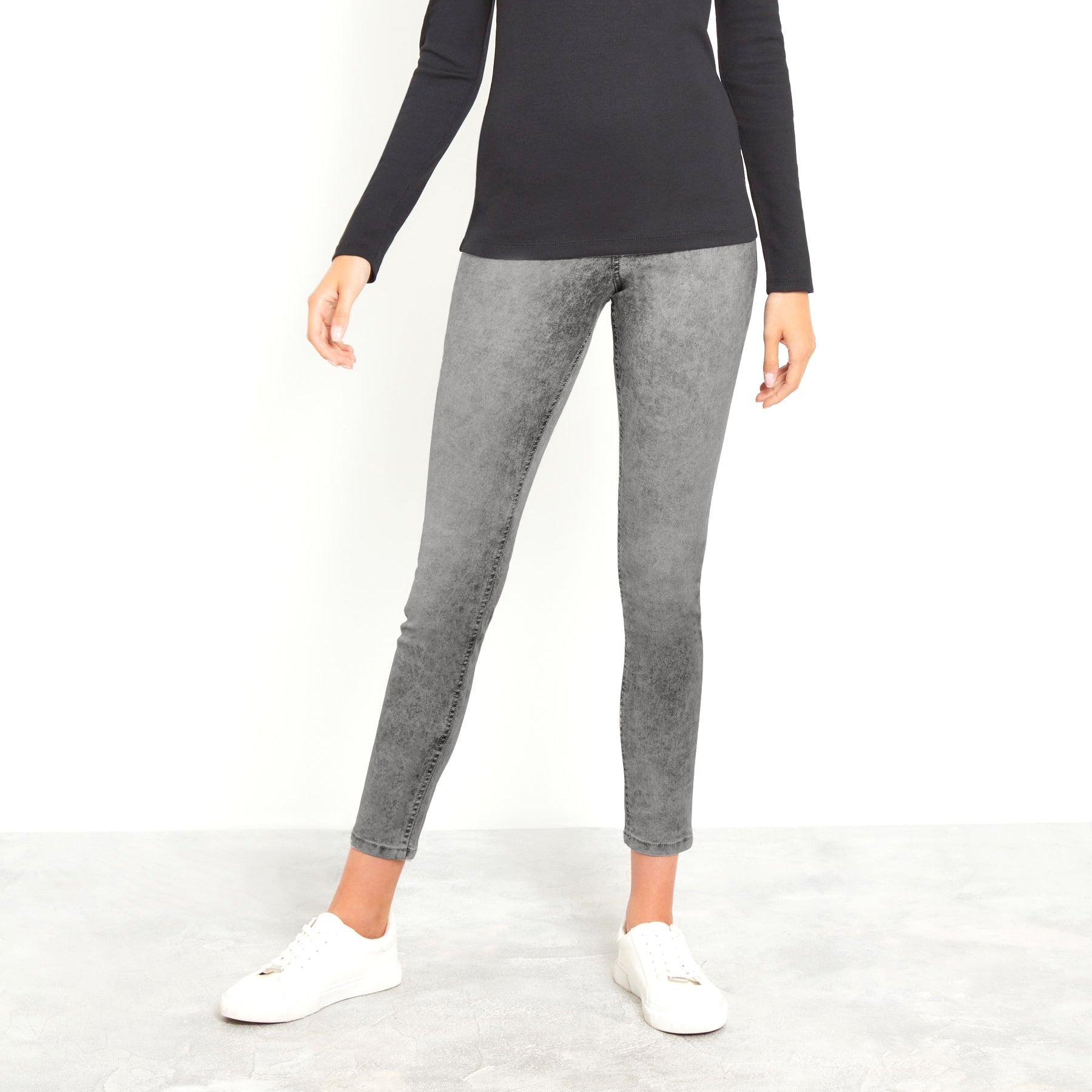 Boohoo Slim Fit Stretch Jeans For Ladies-Grey Melange-NA10744