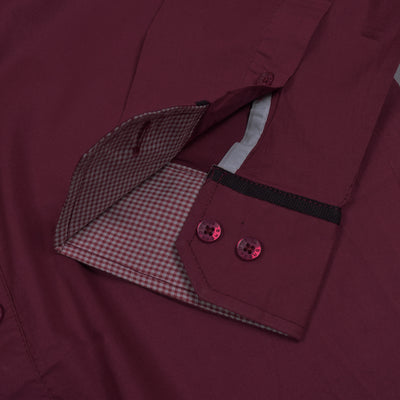 brandsego - Breakout Long Sleeve Casual Shirt For Men-Dark Maroon-NA571