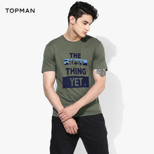 Topman Crew Neck T Shirt For Men Cut Label-Dark Olive Green-BE2626