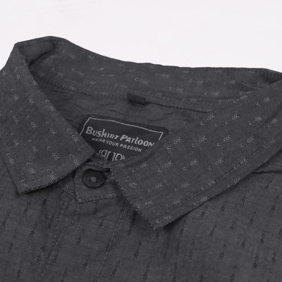 Bushirt Patloon Damask Slef Grey Casual Shirt For Men-BP0027