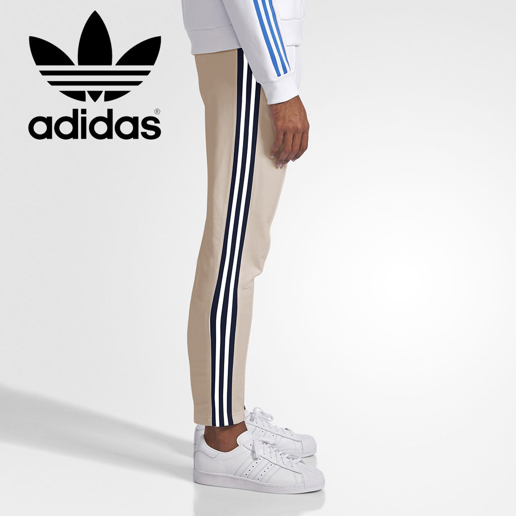 Adidas Cotton Trouser For Men-Cream With White & Dark Navy Stripe-BE3222