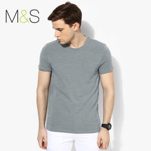 M&S Crew Neck T Shirt For Men Pocket Style Cut Label-Light Sky Fadded-BE2610