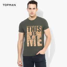 Topman Crew Neck T Shirt For Men Cut Label-Dark Olive Green-BE2625