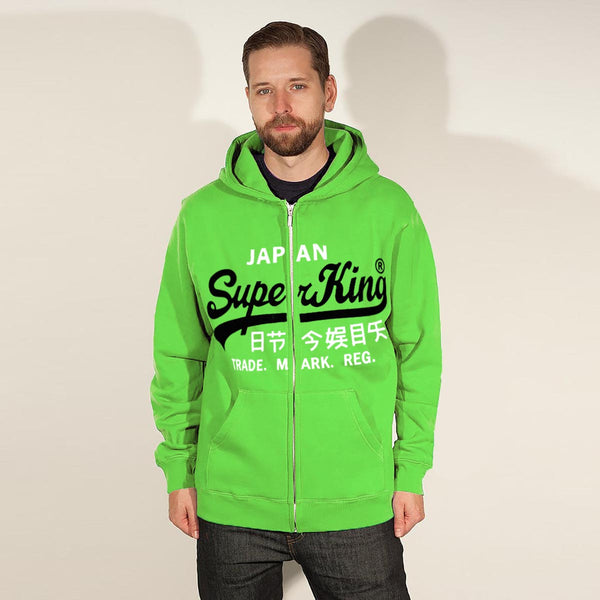 "Men's ""Super King"" Printed Zipper Hoodie-Parrot-SKH18"