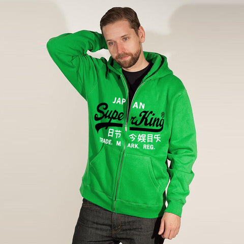 "Men's ""Super King"" Printed Zipper Hoodie-Green-SKH19"