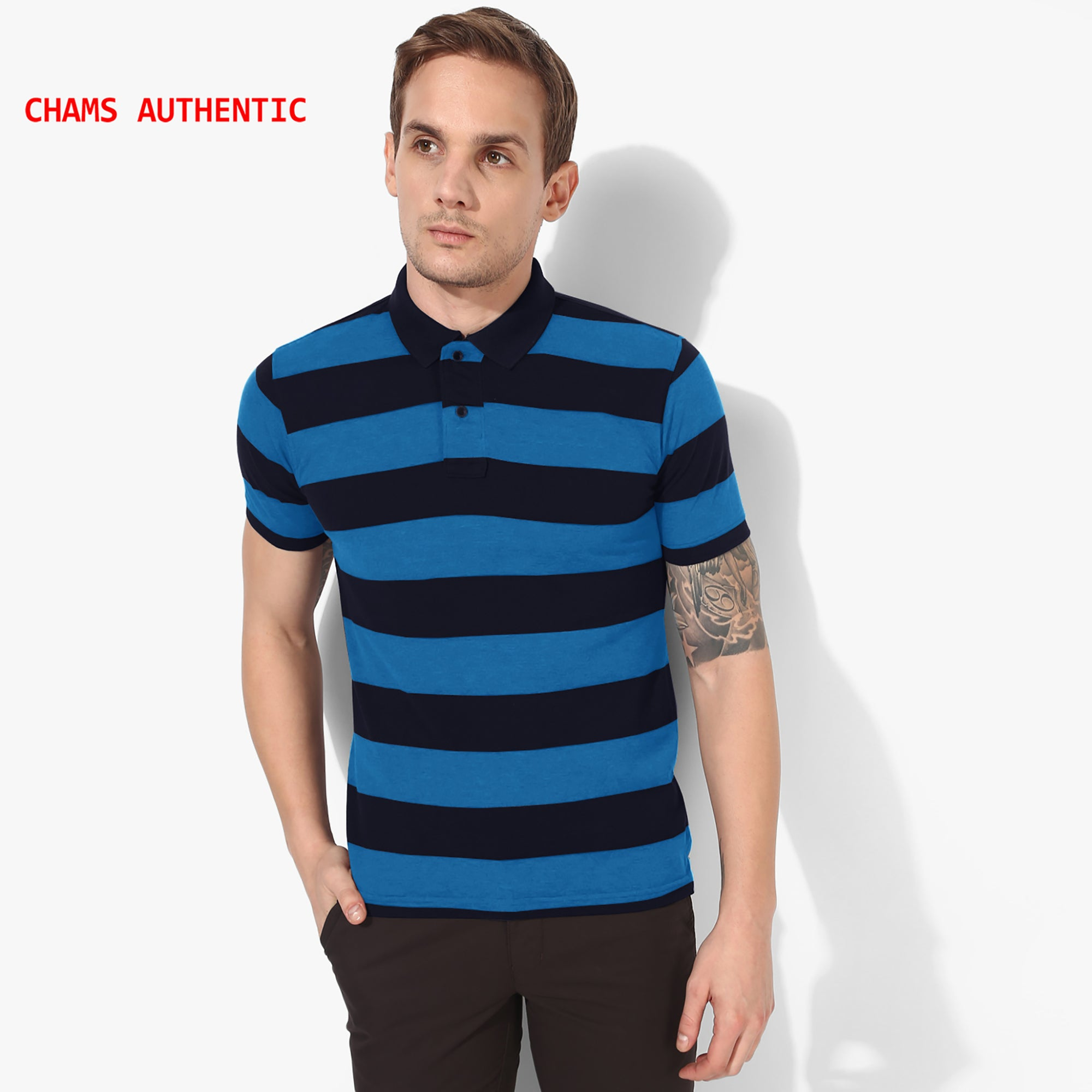 Chams Authentic P.Q Polo Shirt For Men-Dark Navy & Blue Stripes-NA1006