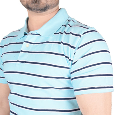 Chams Authentic P.Q Polo Shirt For Men-Light Sky & Navy Stripes-BE4457