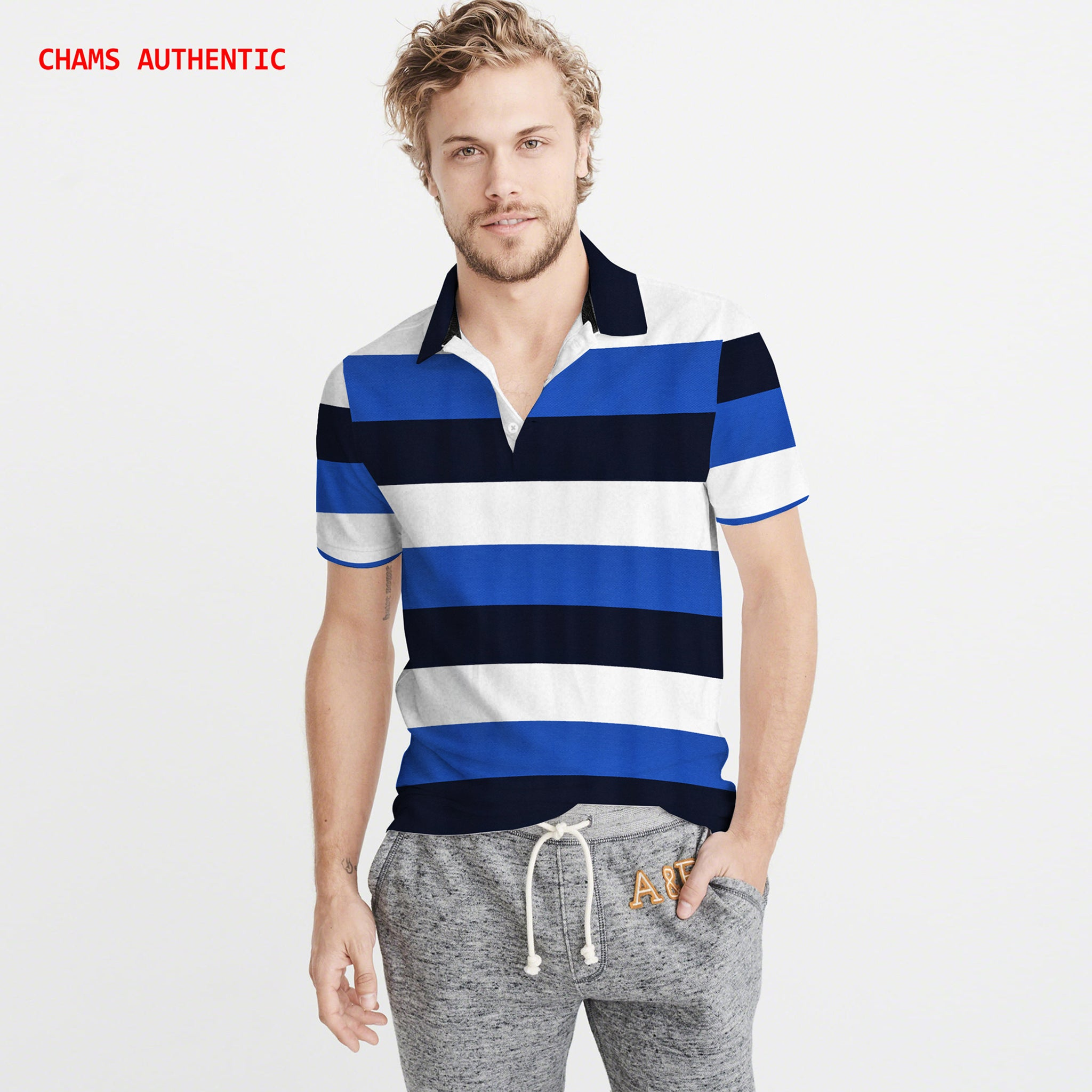 Chams Authentic P.Q Polo Shirt For Men-Multi Striped-NA1005