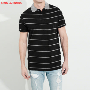 Chams Authentic Single Jersey Polo Shirt For Men-Black With Gray Stripes-NA1003