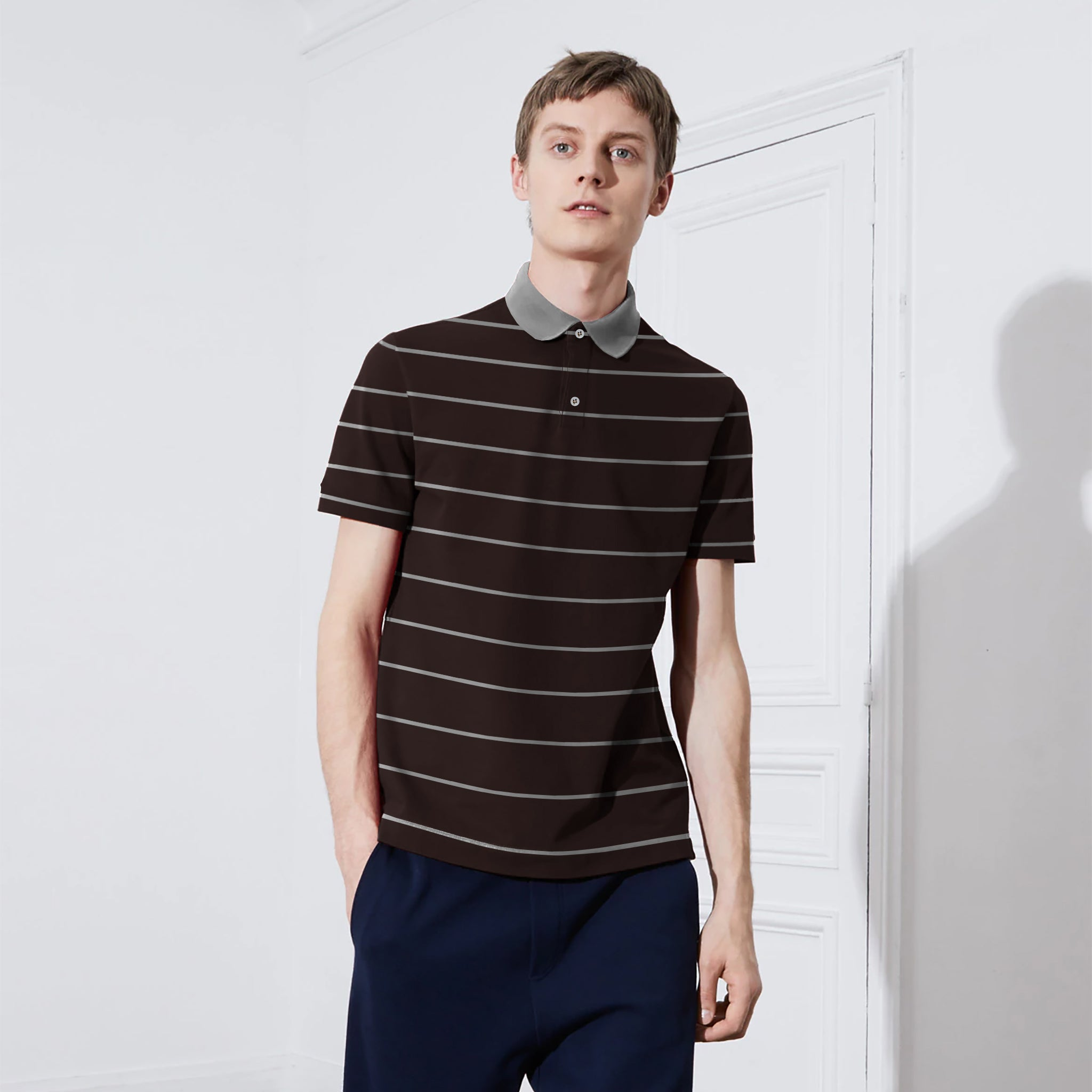 8f7b924c2 Chams Authentic Single Jersey Polo Shirt For Men-Dark Brown With Gray  Stripes-NA1001