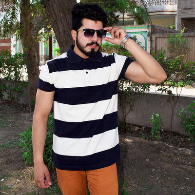 Chams Authentic Single Jersey Polo Shirt For Men-Dark Navy & White Stripes-NA1012