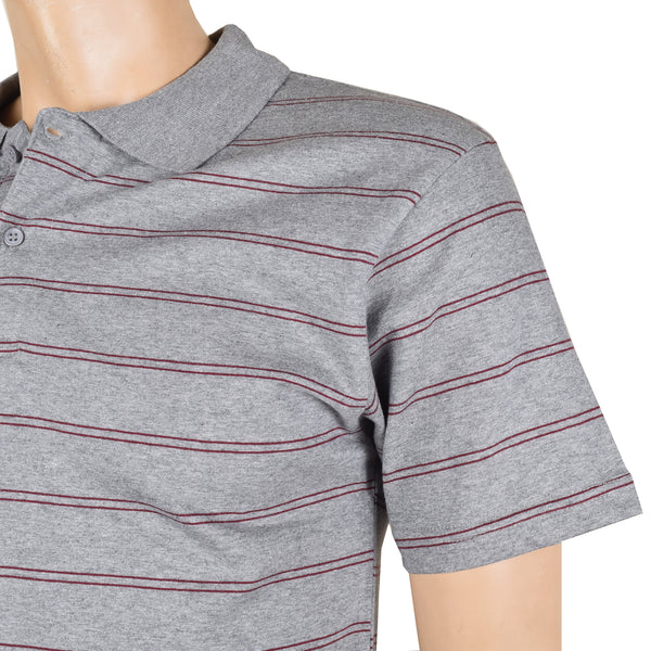 Chams Authentic Single Jersey Polo Shirt For Men-Gray & Burgundy Stripes-NA1007