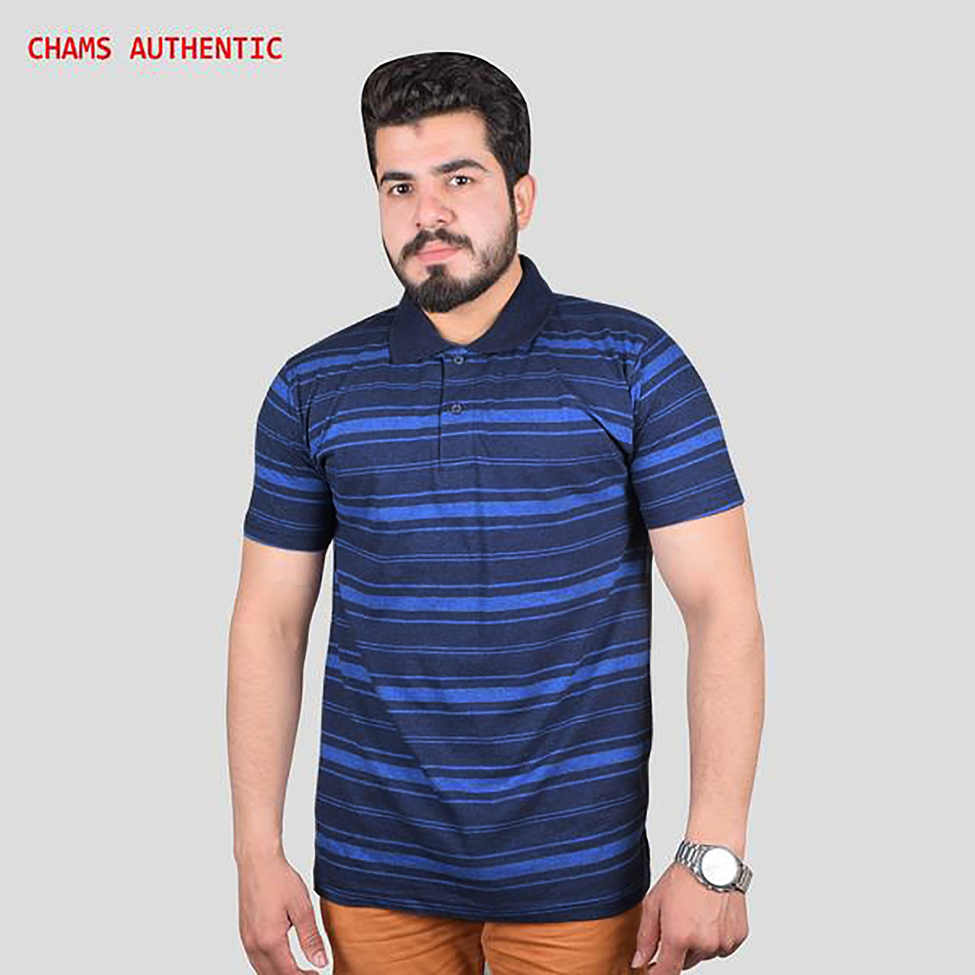 Chams Authentic Single Jersey Polo Shirt For Men-Navy & Blue Stripes-BE4460