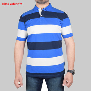 Chams Authentic Single Jersey Polo Shirt For Men-Blue White Stripes-BE4461