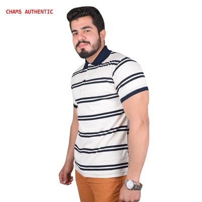 Chams Authentic Single Jersey Polo Shirt For Men-Off White & Navy Stripes-BE4462