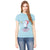 ChenOne Crew Neck Single Jersey Blouse For Ladies-Ice Blue-NA6330