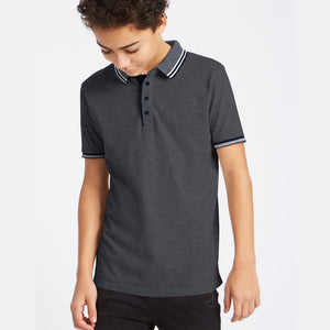 ChenOne Single Jersey Polo Shirt For Kids-Dark Navy Melange-NA5373