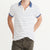 ChenOne Single Jersey Polo Shirt For Men-Off White & Light Navy Stripe-BE5589