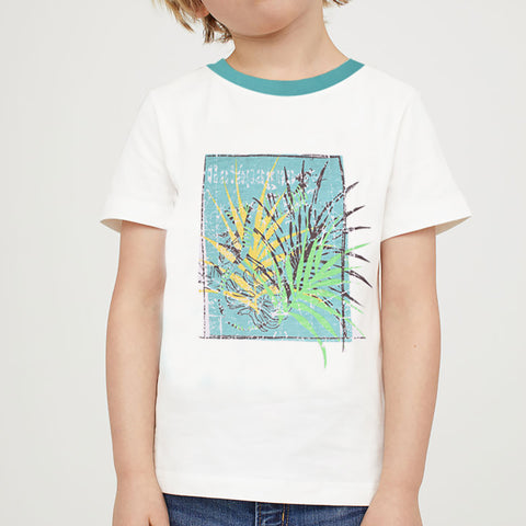ChenOne Single Jersey T Shirt For Boys-White Malange-BA00028