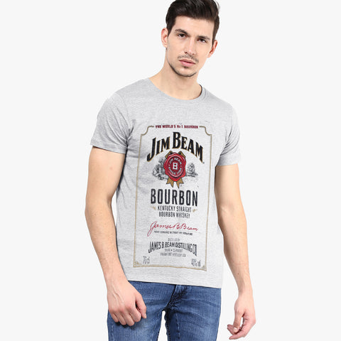 Fat Face Half Sleeve Crew Neck T Shirt For Men-Light Gray-BE2029