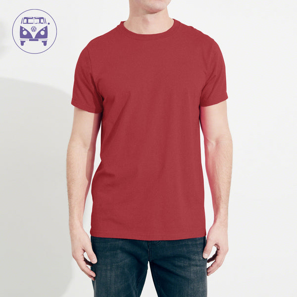 Classic Camper Crew Neck T Shirt For Men-Light Burgundy-NA941