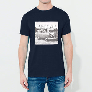 Classic Camper Crew Neck T Shirt For Men-Dark Navy Melange-BE4341