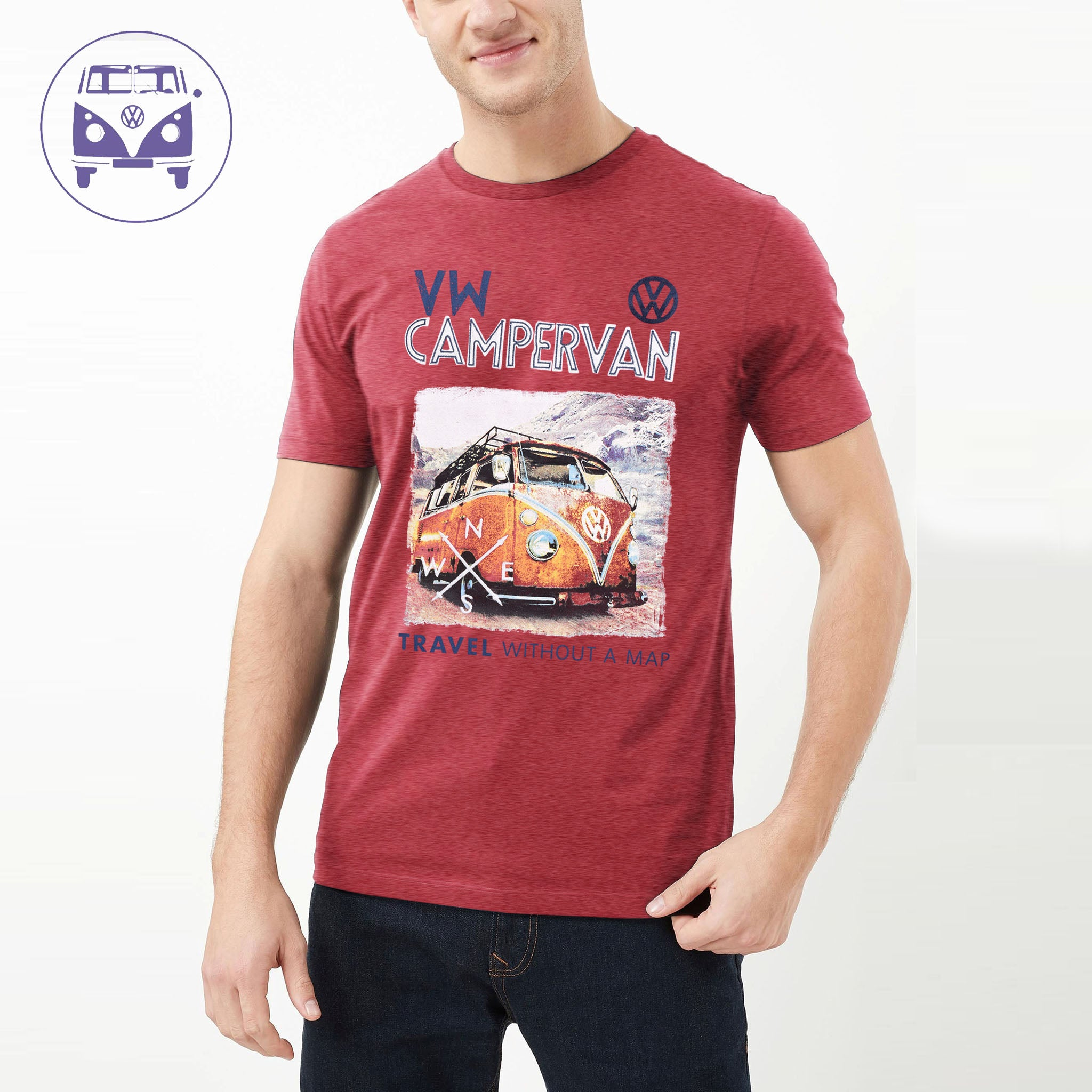 Classic Camper Crew Neck T Shirt For Men-Light Red-BE4320