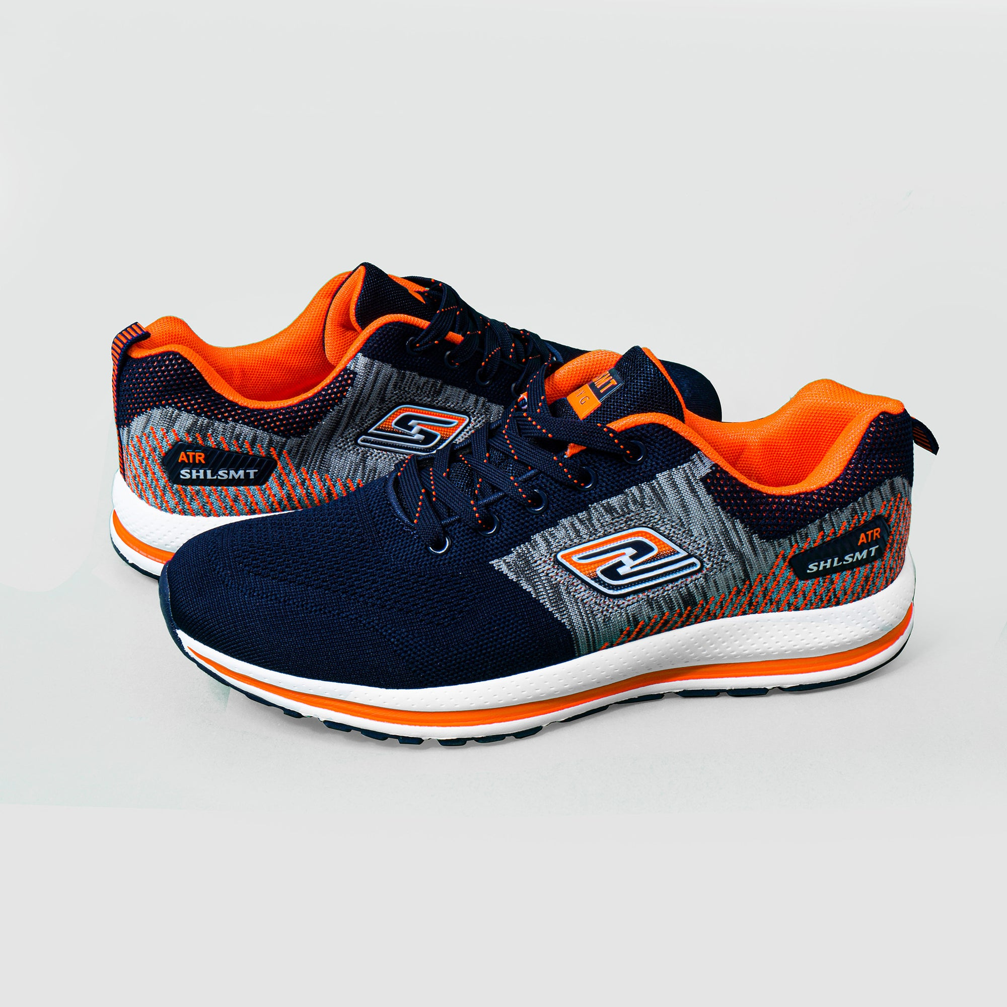 Classic Stylish Sports Lace Up Shoes For Men-Navy & Orange-NA10836