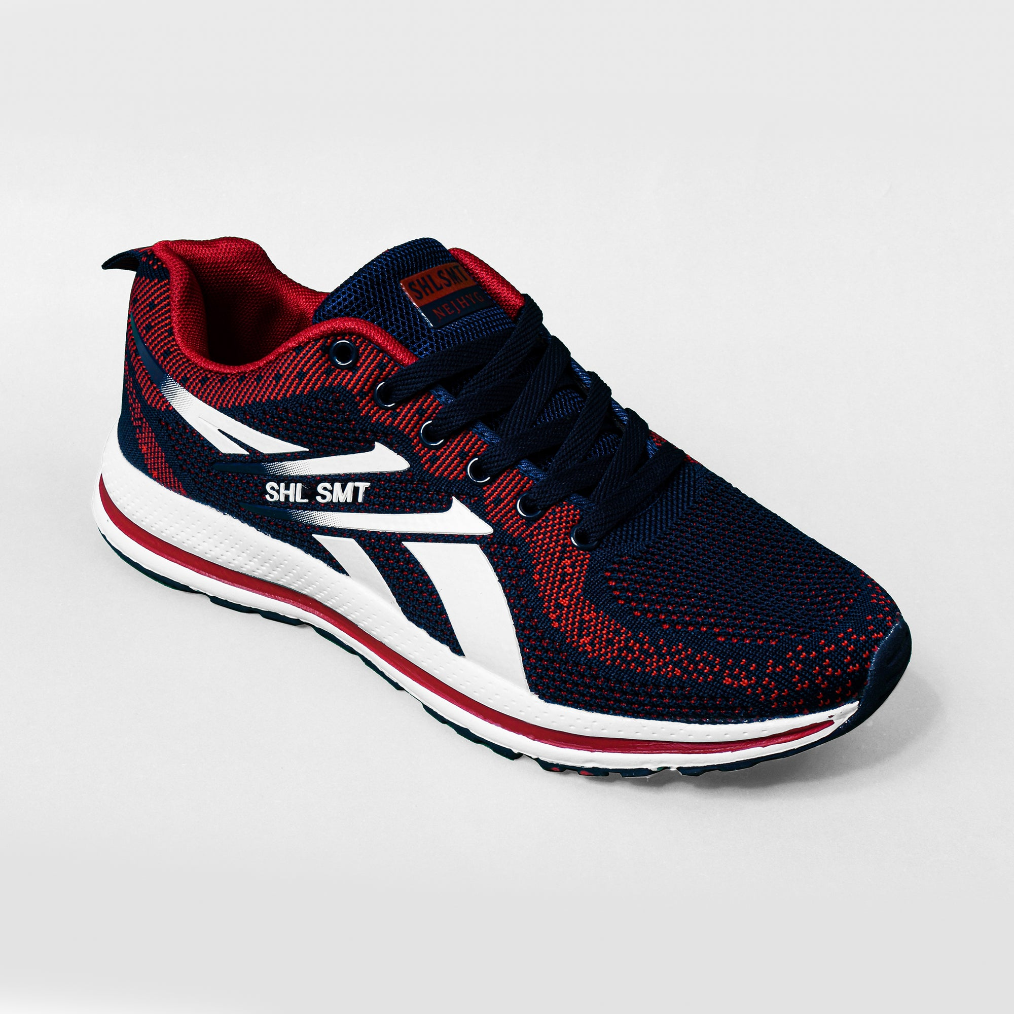 Classic Stylish Sports Lace Up Shoes For Men-Navy & Red-NA10840