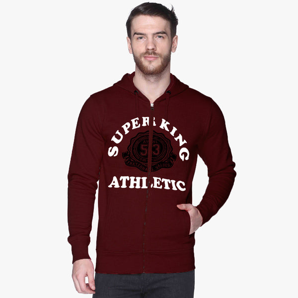 "Men's ""Super King"" Printed Zipper Hoodie-Burgundi-SKHBG13"