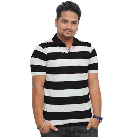 NEXT Polo Striper Shirt For Men Cut Label-White & Black-BE699