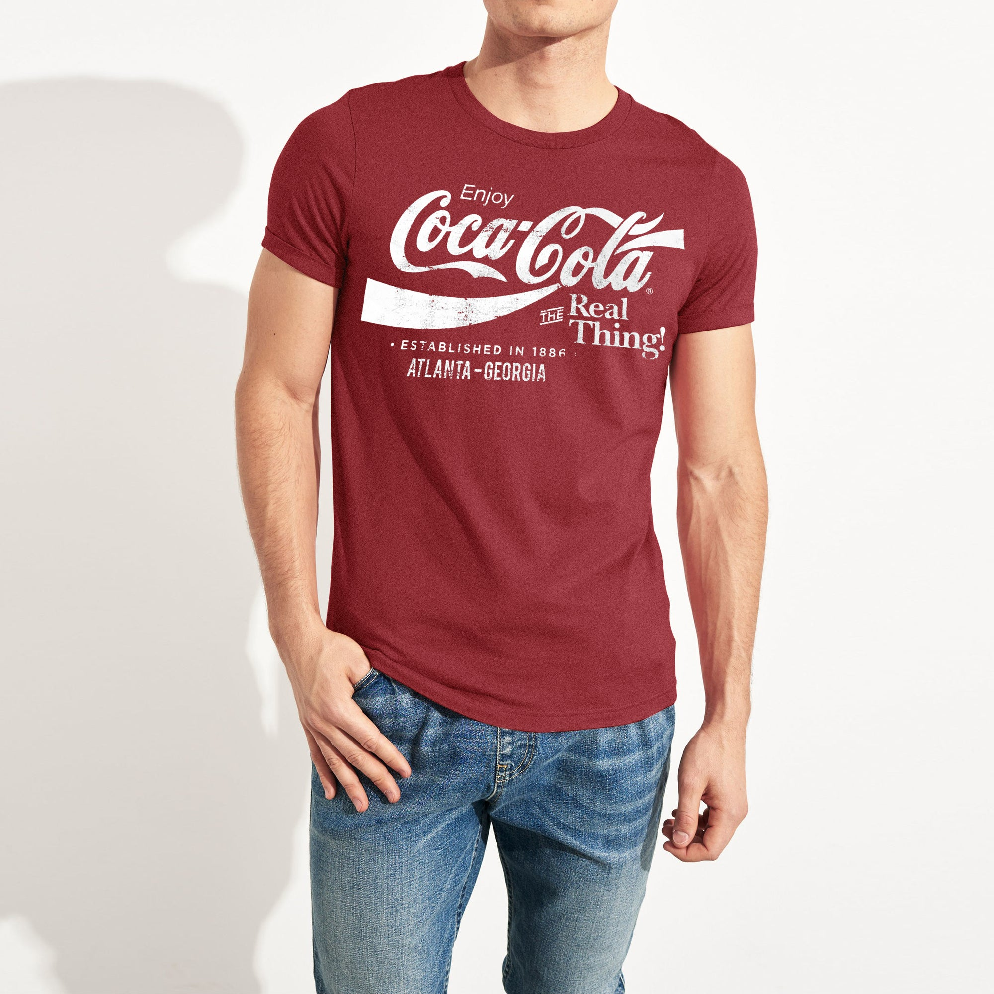 brandsego - Coca-cola Crew Neck Single Jersey Half Sleeve Tee Shirt For Men-Carrot Red-NA8428