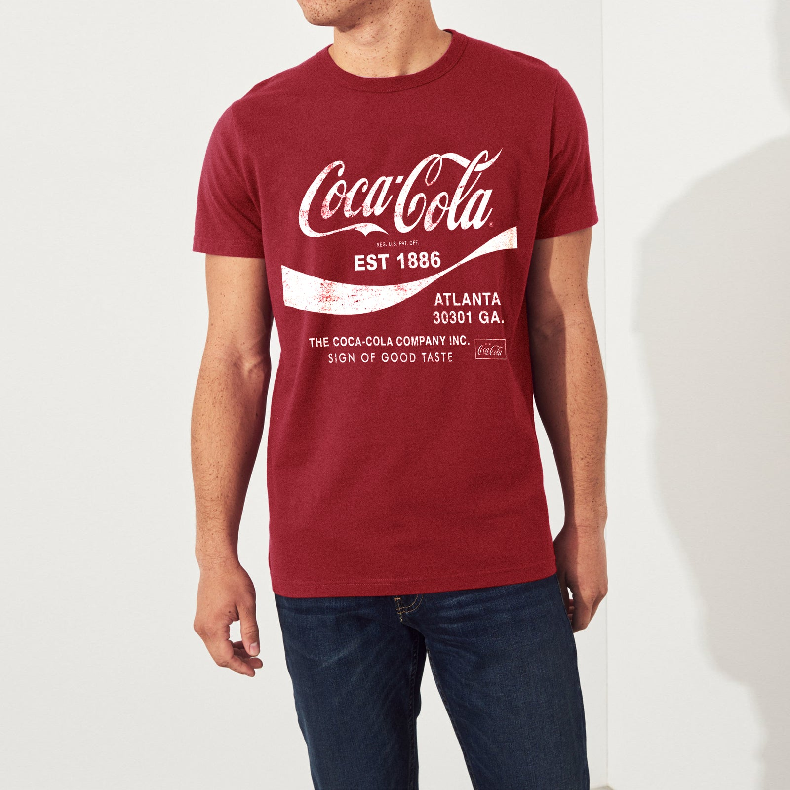 af8b9012c241 Coca-cola Crew Neck Single Jersey Half Sleeve Tee Shirt For Men-Carrot Red