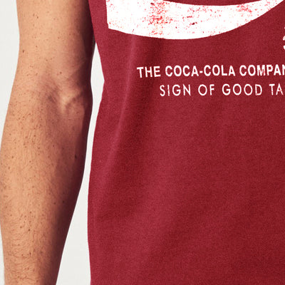 Coca-cola Crew Neck Single Jersey Half Sleeve Tee Shirt For Men-Carrot Red-NA8431