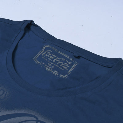 Coca Cola Crew Neck Tee Shirt For Ladies-Dark Blue-NA10822