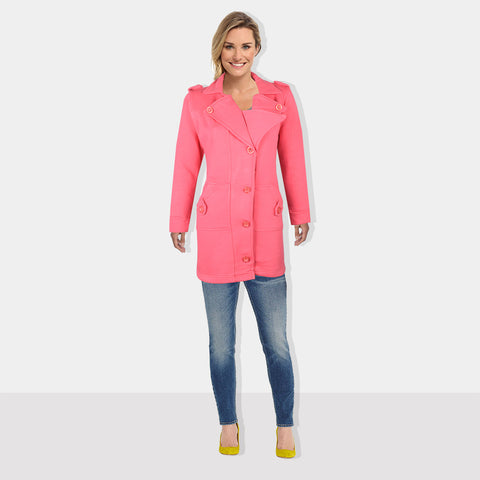 "Ladie's ""COCO"" Stylish Trench Long Coat Pink-LTC18"
