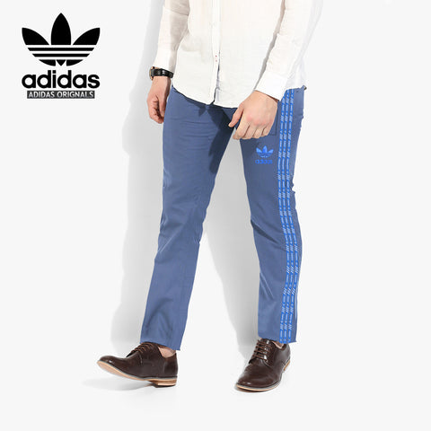 Adidas Cotton Trouser For Men-Light Sky Blue With Blue Stripes-BE2241