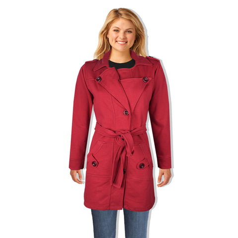 "Ladie's ""COCO"" Stylish Trench Long Coat Red-LTC20"
