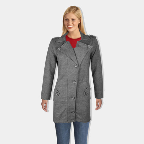 "Ladie's ""COCO"" Stylish Trench Long Coat Charcoal-LTC19"