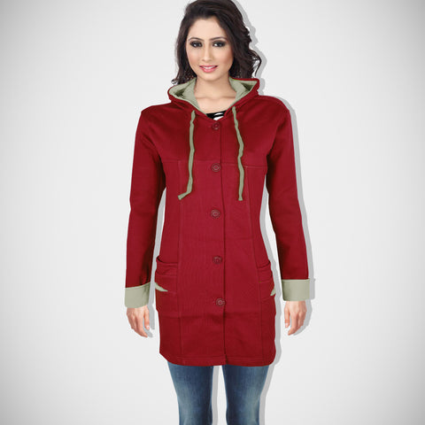 "Ladie's ""COCO"" Stylish Hoodie Coat Red-LTC10"