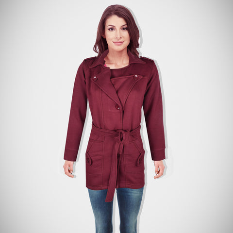 "Ladie's ""Like an Angel"" Stylish Trench Coat Burgundi-LTC08"