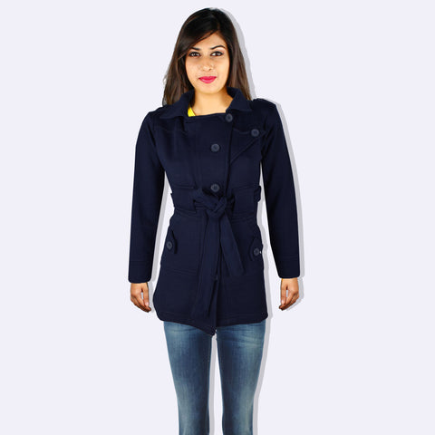 "Ladie's ""George"" Stylish Trench Coat Navy Blue-LTC012"