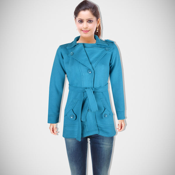 "Ladie's ""Like an Angel"" Stylish Trench Coat Sea Green-LTC07"