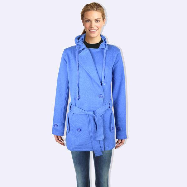 "Ladie's ""COCO"" Stylish Trench Long Coat Blue Melange-LTC16"