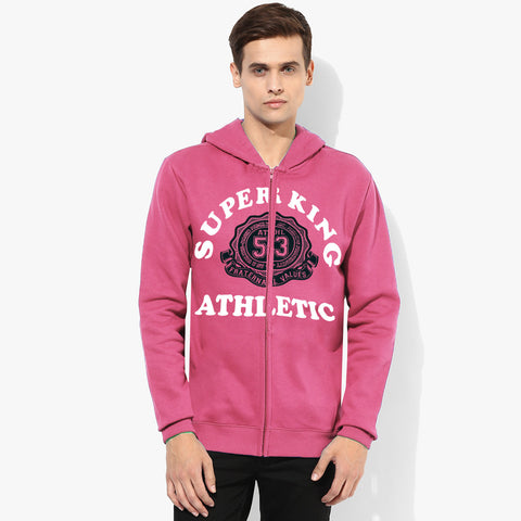 "Men's ""Super King"" Printed Zipper Hoodie-Pink-SKHPK07"