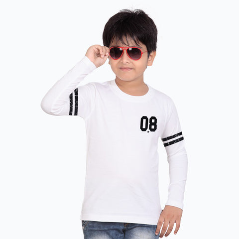 B Quality Next Full Sleeve T Shirt For Kid Cut Label -White-BE2183