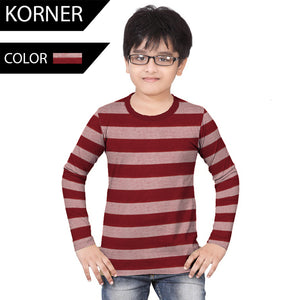 Kids Kroner Striped Long Sleeve T Shirt-Dark Burgundy-KKTS08