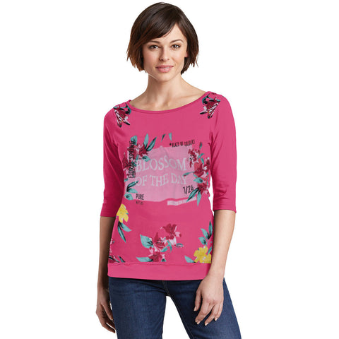 Ladie's Blossom of the Day Stylish Crew Neck Blouse-Pink-BE886