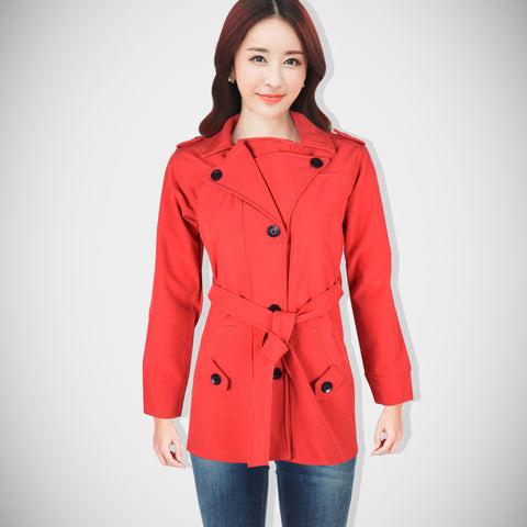 "Ladie's ""Like an Angel"" Soft Shell Water Proof Trench Coat Red-LTC01"