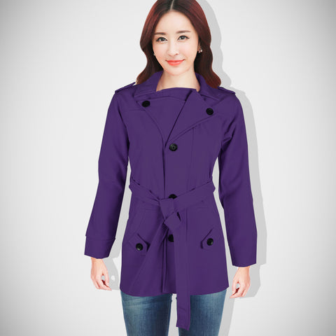 "Ladie's ""Like an Angel"" Stylish Trench Coat Dark Purple-LTC06"